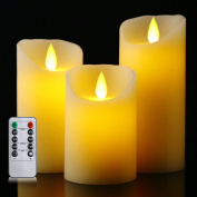 Flameless Battery Candles With Remote Timer Set 10cm 13cm 15cm Flickering Dancing Flame White Led Pillar Candles by Letetop