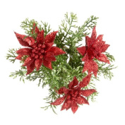 Christmas Candle Ring-Mini Wreath Red Glitter Poinsettia w Greens Glitter