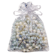 Wuligirl 100pcs 4X6 Drawstring Organza Christmas Gift Bags Snow White Jewellery Pouches Party Wedding Favour Candy Seashell for Women Girls