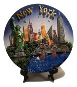 New York City Souvenir Plate with 3D Statue of Liberty, Empire State Bldg. Freedom Tower, Chrysler Bldg. Brooklyn Bridge & Hudson River - New York City Souvenirs