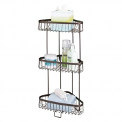 mDesign Three-Tier Freestanding Wire Bathroom Storage Shelf for Lotion, Bar Soap, Hand Towels - Bronze