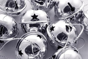 Charmed large size Christmas star cutout jingle sleigh bell ornament 7.6cm pack of 6