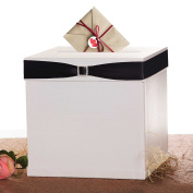 """Merry Expressions - Wedding White Gift Card Box with 7 Ribbon Colours, 10""""x10"""" Large, Square, Glossy, Textured Finish - Elegant Money Box Best for Birthdays, Graduations, Baby, Showers & Anniversaries"""