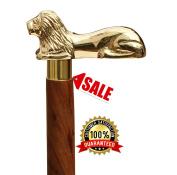 SouvNear Wooden Walking Stick 90cm Brown - Wood Cane with Golden LION Brass Handle - Unique Decorative Gentleman Walking Sticks and Canes