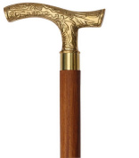 Christmas Gifts Ideas - StarZebra Wooden Walking Stick Cane with Classic Vintage Carved Brass Handle