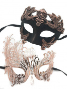 Rose Gold Bronze Roman Luxury Couple Mask Mardi Gras Venetian His & Her Mask Ball Masquerade Mask