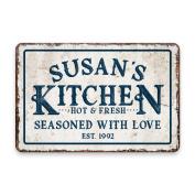 Personalised Vintage Distressed Look Kitchen Seasoned with Love Metal Room Sign