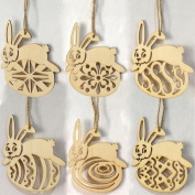 Quartly 6Pcs Easter Day Ornaments Wooden Easter Egg Hanging Pendant Tags Wall Door Decor Sign Hanger for Home Shop Decorations