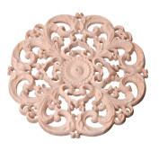 Yeahii Wood Carved Corner Onlay Applique Frame Decoration Furniture Unpainted Decal