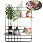 Grid Photo Wall, Pulatree Wire Wall Mesh Display Panel Decorative Iron Rack Clip Photograph Wall Hanging Picture wall, Ins Art Display PhotoWall 2 Packs 70cm x 45cm