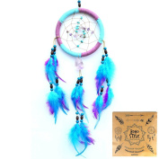Indian Dream Catcher Handmade Amethyst Dream Catchers with Feathers Wall Hanging Home Decor Dia 4.72