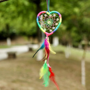 Medium Rainbow Handmade Dream Catcher, Heart Shape Kids Room Hanging Decoration, Wall Hanging Home D¨¦cor