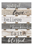 Grateful Love Believe Thankful Faith Blessed Grey 43cm x 60cm Solid Pine Wood Skid Wall Plaque Sign