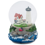 Cape Cod Lighthouse Cottage 100MM Music Water Globe Plays Tune Dock of the Bay