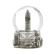 Silver London Snow Globe with Big Ben and Union Jack Flag, (8.9cm Tall), London Snow Globe
