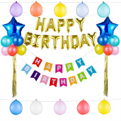Super-Size Birthday Party Decorations Supplies All-in-One Pack with Foil Balloons, Happy Birthday Balloons, Happy Birthday Banners by Gifts2U