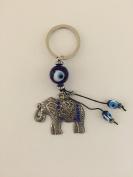 Elephant with Blue Evil Eye Protection Amulet Keychain USA Seller