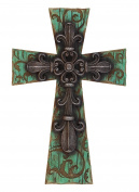 35cm Decorative Teal Fleur De Lis Wall Cross