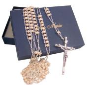 Cream Acrylic Prayer Bead Wedding Ladder Lasso Rosary for Married Couple, 110cm