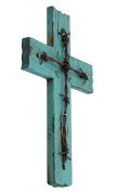 Simple 27cm Weathered Wood & Barbwire Decorative Wall Cross - Shabby Chic Chalk Paint Look