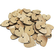 Wood Tags 50pcs Wooden Hearts with 50pcs Rings for Decor Birthday Calendar