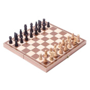 BlueSnail 38cm Classic Vintage Standard Folding Wooden Chess Set, Foldable Games Board Crafted Carved
