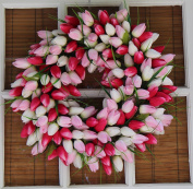 Pink And White Tulip Front Door Wreath 48cm - Stunning Silk Wreath For Valentines Day And Spring Display - Beautiful White Gift Box Included