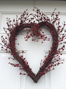 Rustic Twig Red Berry Heart Wreath 50cm Pip Berries Valentine's Day Wreath Every Day Indoor Outdoor Decorating Accessory
