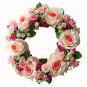 36cm Flower Wreath Handmade Artificial Floral Silk Wreath for Front Door Home Wall Wedding Decoration