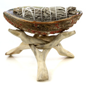Premium Abalone Shell with Natural Wooden Tripod Stand and 3 California White Sage Smudge Sticks. Alternative Imagination Brand.