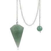 Green aventurine Crystal Pendulum Stone Healing Quartz 12 Facet Reiki Charged Bead End Free Pouch