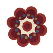 Crescent Drive Rug Company Fantasia Red Flower Area Rug