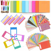 Xtech Fuji Mini 9/8 Accessories Kit with Mini Photos Album, 120 Mini Photos Sticker Frames, Colourful Hanging Frames with Hanging Clips and String, Colourful Desk Frames and Corner Sticker Frames