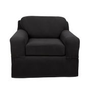 Maytex Pixel Stretch 2-Piece Chair Slipcover, Charcoal