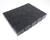 yueton 20pcs Square Rubber Chair Leg Caps Feet Pads Furniture Table Covers Floor Protectors Fit for Chairs Within 2.5cm