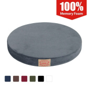 Shinnwa Polyester Supper Soft Cushion Round Memory Foam Seat Cushion Short Plush Lumbar Support Pillow Home Office Chair Pad Grey 41cm