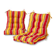 Greendale Home Fashions Outdoor Seat/Back Chair Cushion (set of 2), Carnival Stripe