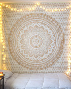 "Golden Ombre Tapestry "" Gold tapestry Ombre Bedding, Mandala Tapestry, Multi Colour Indian Mandala Wall Art Hippie Wall Hanging"