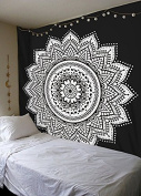 Labhanshi Black White Mandala Tapestry , Indian Hippie Wall Hanging , Bohemian Twin Wall Hanging, Bedspread Beach Tapestry 140cm x 200cm