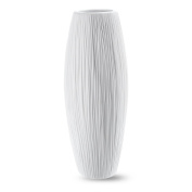 20cm Oval Pure White Ceramic Flower Vase - Waterfall Textured Elegant Design - Ideal Gifts for Friends and Family, Christmas, Wedding, Bridal Shower - Home Decor Vase