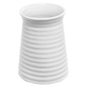 14cm Modern Ribbed Design Small White Ceramic Decorative Tabletop Centrepiece Vase / Flower Pot