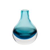CASAMOTION Home Decor Accent Vase Hand Blown Art Solid Colour Glass Bud Vase, Blue