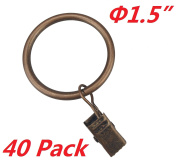 T O K G O 40-pack Copper Metal Curtain Rings with Clips