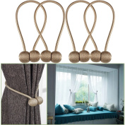 YIDIE 4 Pieces Curtain Tiebacks Classic European Window Holdbacks Home Office Decorative Drapes Holders with Strong Magnetic,Beige/2 Pair