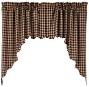 Scalloped Swag in Black and Tan - Set of 2