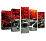 Hua Dao Art-HJ-0313 canvas prints 5 Piece Wall Art Home Decoration Painting Printed on canvas Red Waterfall