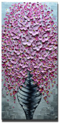 Desihum-100% Hand Painted Painting 3D Oil Paintings On Canvas Elegant Pink Flower Picture Vase Artwork Abstract Vertical Wall Art For living Room,Bedroom Wall Decor Framed Art Ready To Hang