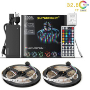 NEW 2018 LED Strip Lights Kit Non-waterproof– 32.8ft (10M) 600 LEDs SMD 3528 RGB Light with 44 Key Remote Controller, Extra Adhesive Tape, Flexible Changing Multi-Colour Lighting Strips for TV, Room
