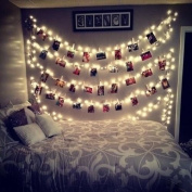 20 LED Photos Clips String Lights (3m Warm White) AOSTAR Battery Operated Fairy String Lights for bedroom Hanging Photos, Cards and Artworks