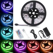 Boomile BL600 5m LED Strip Lights, SMD 5050 300LEDs Waterproof RGB Light Strips Colour Changing Flexible LED Light Strip Kit DC 12V Power Adapter + 44Key IR Remote Controller for Kitchen Bedroom